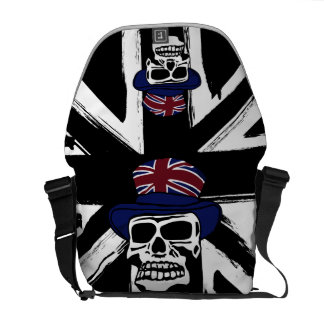 Retro abstract black union jack Punk skull Messenger Bag