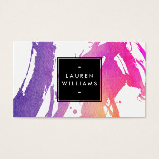 Retro Abstract Bright Watercolor Brushstrokes Business Card