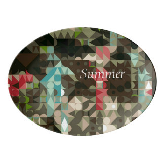 Retro Abstract Brown Teal Pink Geometric Platter
