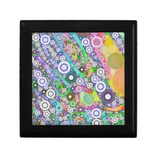 Retro Abstract Circle Pattern Small Square Gift Box