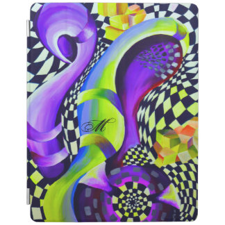 Retro Abstract Electric Blue and Harlequin Green iPad Cover