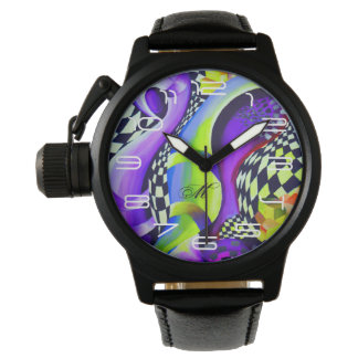 Retro Abstract Electric Blue and Harlequin Green Watch