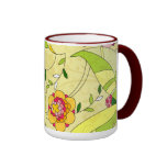 Retro Abstract Floral Collage Ringer Mug