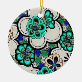 Retro Abstract Flower Teal Blue Circle Ornament