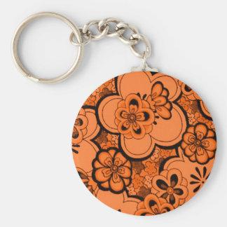 Retro Abstract Flowers Tangerine Orange Keychain