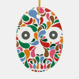Retro / Abstract paisley color drop skull Ceramic Oval Decoration