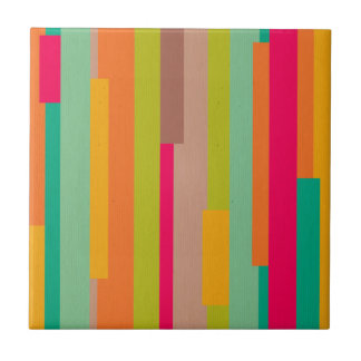Retro abstract pattern 70's trendy funky chic funk small square tile