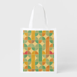 Retro abstract pattern reusable grocery bag