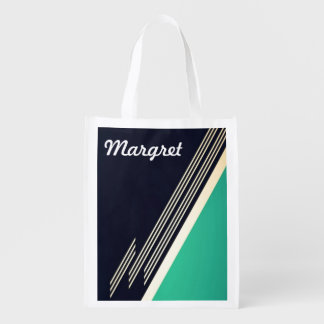 Retro Abstract Personalized Reusable Grocery Bag