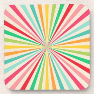 Retro Abstract Rainbow Art Beverage Coasters