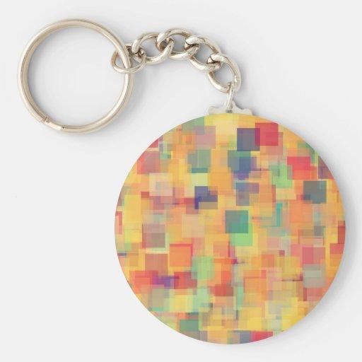 Retro Abstract Rainbow Art Design Key Chain