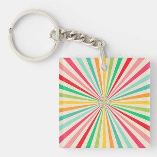 Retro Abstract Rainbow Art Keychain