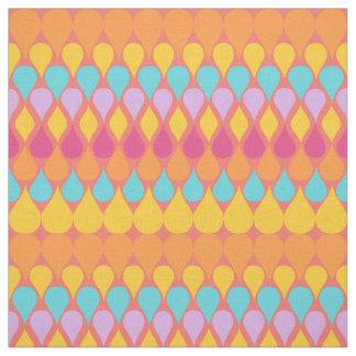 Retro Abstract Rainbow Raindrops Pattern Fabric