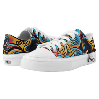 retro abstract swirled out lace up printed shoes