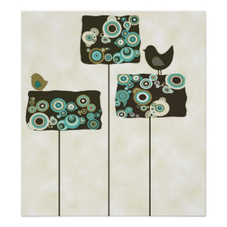 Retro Abstract Trees and Birds Poster Print