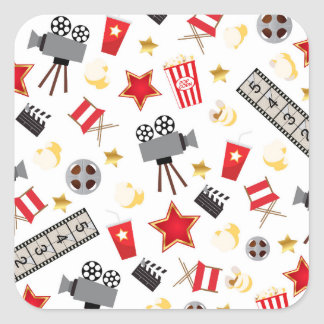 Retro Acting Movies Theatre/Theater Square Sticker