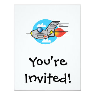 retro aeroplane jet 11 cm x 14 cm invitation card