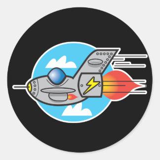 retro aeroplane jet classic round sticker