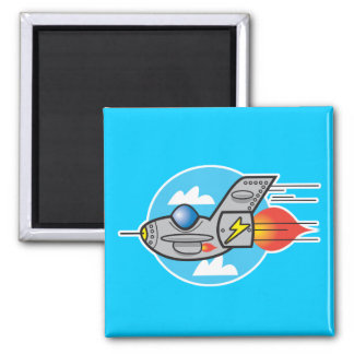 retro aeroplane jet square magnet