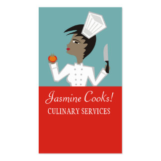 Retro African American woman chef tomato biz cards Business Card Template