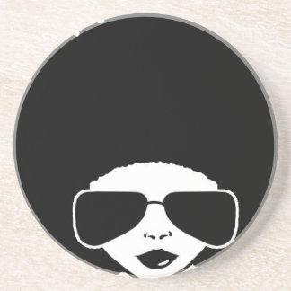 retro Afro girl Beverage Coaster