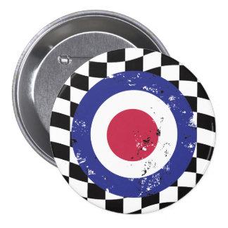 Retro aged mod target on check background 7.5 cm round badge