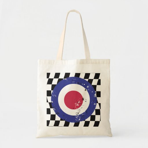 Retro aged mod target on check background canvas bag