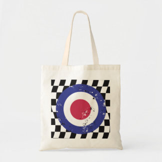 Retro aged mod target on check background budget tote bag