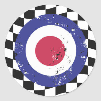 Retro aged mod target on check background classic round sticker