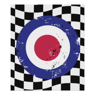Retro aged mod target on check background poster