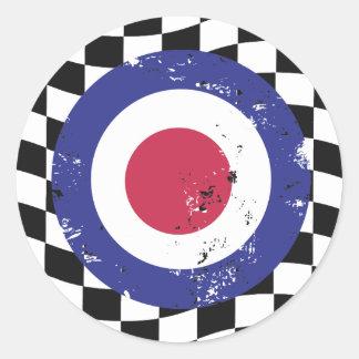Retro aged mod target on check background round sticker