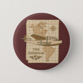 Retro Airplane 6 Cm Round Badge