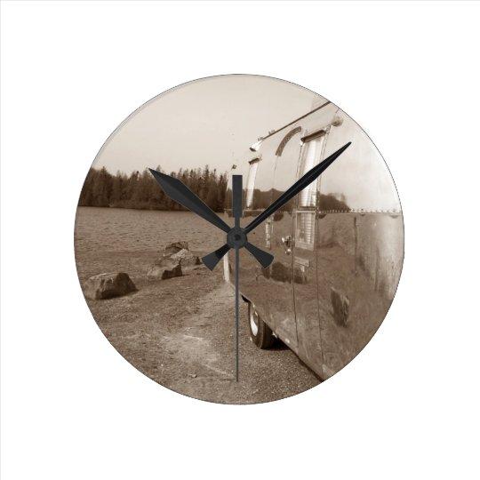 Retro Aluminium Trailer Clock Vintage Reflection