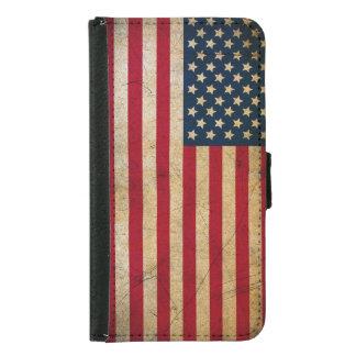 Retro American Flag Samsung Galaxy S5 Wallet Case