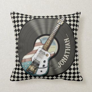 Retro Americana Electric Guitar And Vinyl Record Cushion