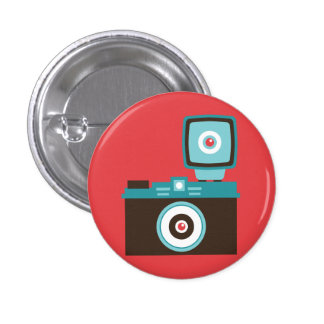 Retro Analog Camera (Brown / Blue) Flair 3 Cm Round Badge