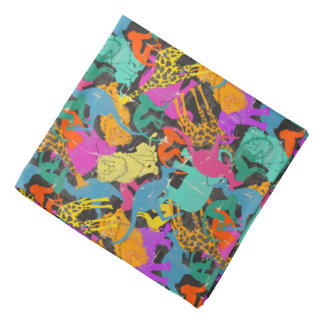 Retro Animal Silhouettes Pattern Bandana