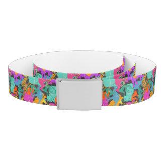 Retro Animal Silhouettes Pattern Belt