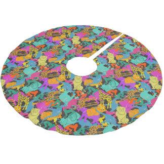 Retro Animal Silhouettes Pattern Brushed Polyester Tree Skirt