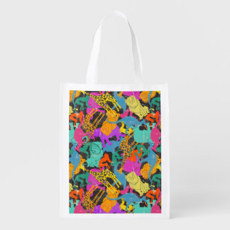 Retro Animal Silhouettes Pattern Reusable Grocery Bag