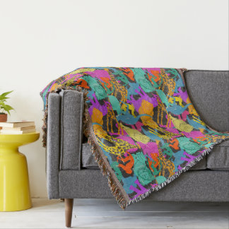 Retro Animal Silhouettes Pattern Throw Blanket