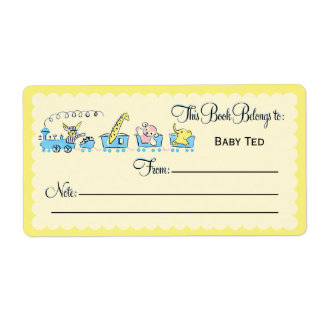 Retro Animal Train Bookplate Shipping Label