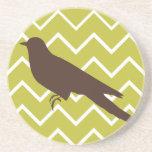 Retro Animals on Chevrons - Bird Beverage Coasters