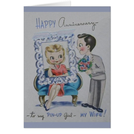 Retro Anniversary For Wife Greeting Card
