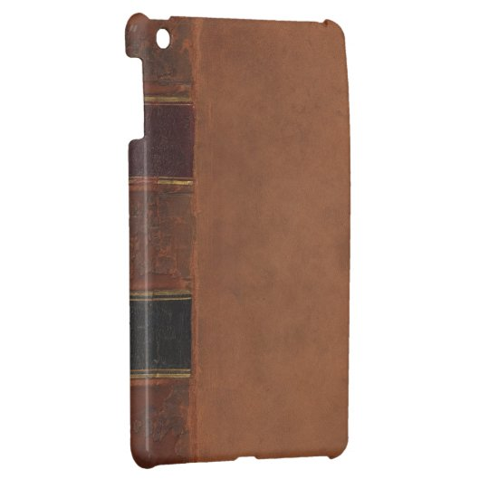 Retro Antique Book, faux leather bound brown iPad