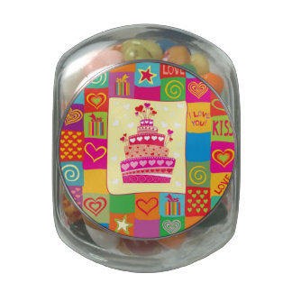 Retro Any Occasion Party Pattern Glass Candy Jar