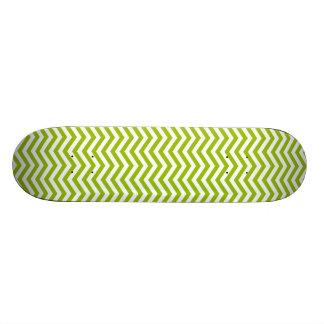 Retro Apple Green Chevron Stripes Skateboard Deck