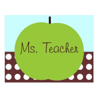 Retro Apple Persoanlized Teacher Gifts Postcard
