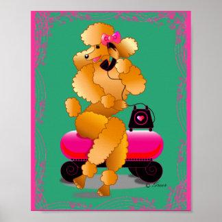 Retro Apricot Poodle on Phone Art Print