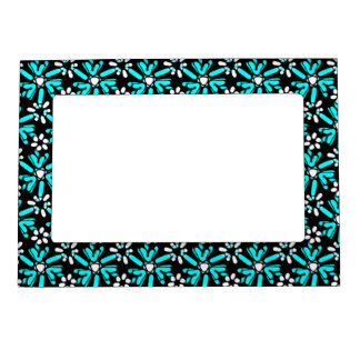 Retro Aqua Blue & Black Batik Flower Pattern Magnetic Picture Frame